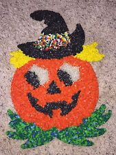 "Vintage Halloween Melted Popcorn 17"" Pumpkin with Witch Hat"