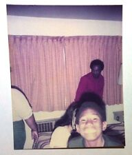 Vintage 70s Found PHOTO Younger Black Teenager Huge SAY CHEESE SMILE Camera Man