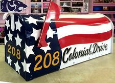 *Custom Painted* Rural-Style Standard-Size MAILBOX *American FLAG design*