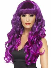 Ladies Siren Long Curly Fancy Dress WIG in PURPLE & BLACK