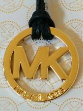 "New Michael Kors Large 2"" MK Gold Charm Black Genuine Leather Strap Handbag Fob"