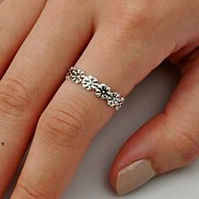 .925 Sterling Silver Ring size 8 Flower Midi Knuckle Rose Fashion Ladies New p52