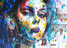 120cmx 80cm  SIZE CANVAS PRINT - URBAN PRINCESS modern  GRAFFITI STREET ART