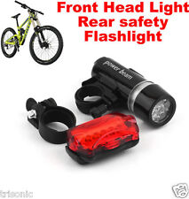 NEW LED BIKE BICYCLE WATERPROOF FRONT HEAD LIGHT + REAR SAFETY FLASHLIGHT USA
