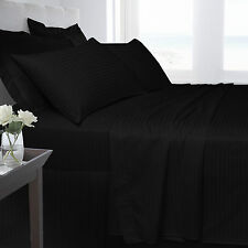 250TC 100% Egyptian Cotton Luxury Satin Stripe Fitted & Flat sheets All Sizes