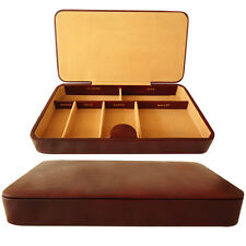 Men Valet Tray Genuine Leather Catchall Desk Dresser Drawer Organizer Gift