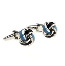 Rare Black Blue Spiral Knot Twist Cuff Links Wedding Groom Shirt Cufflinks Gift