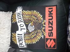 "NICE RETRO BIKER 80 S BACK PATCH ""BORN TO RIDE, SUZUKI "" WITH EAGLE, UNUSED,NEW"