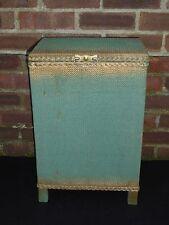Vintage Lloyd Loom Green Gold Wicker Laundry Linen Basket Bin Storage Box