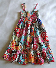 Hanna Andersson Girls 120 6 6X 7 Smocked Twirl Sun Dress Floral Ruffle Summer