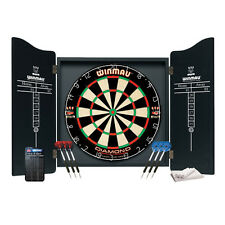 Winmau Professional Dartboard Cabinet Set Dart Board Darts Flights Bristle Wood