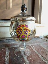 NEW SILVER MERCURY GLASS DAY OF THE DEAD SUGAR SKULL APOTHECARY CANDY JAR