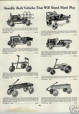 1933 PAPER AD American Pedal Car Dump Truck Air Pilot Airplane Plane Fire Hand