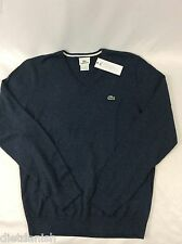 Lacoste Men's Long Sleeve Sweater Dark Indigo Blue V-Neck Size EU 4 US S