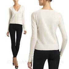 Black White Womens Casual V Neck Cashmere Blend Pullover Wool Sweater Size