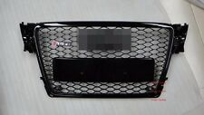 RS4 Style Grille Honeycomb Glossy Black Frame Black Ring For 09-11 Audi A4 B8 S4