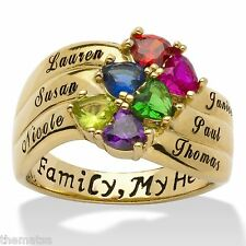 PERSONALIZED HEART  BIRTHSTONE 18K GOLD STERLING SILVER RING SIZE 5 6 7 8 9 10
