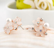 Fashion Lady's 18K Rose Gold Filled 5mm White Pearl Crystal Flower Stud Earrings