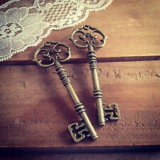 2 pcs - Large Skeleton Key Charms in Antique Bronze Vintage Style Pendant Keys