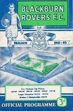 Football Programme BLACKBURN ROVERS v BOLTON WANDERERS Apr 1962