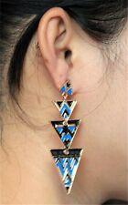 Fashion Golden Geometry Triangle Enamel Dangle Stud Earrings