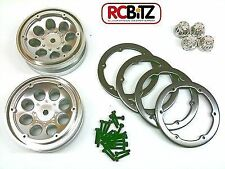 Axial 1.9 8 Hole Beadlock Scale Wheels 2 CHROME AX8088 Plastic with HUBS