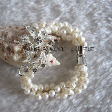 "8"" 5-6mm 3Row White Freshwater Pearl Bracelet Magnetic Clasp XC UK"