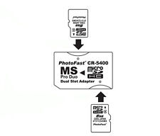 Micro SD TF to Memory Stick MS Pro Duo PSP Karte Dual 2 Schlitz Adapter