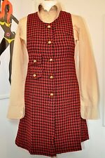 Mod Dress - 1960s Style Check Pinafore by Pop Boutique size 8-10 red & black