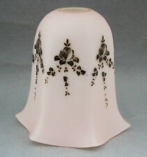 Pink Milk Glass Lamp Light Shade Floral Grey Transferware EXC 40s 50s Vintage