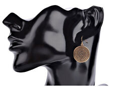 Antique Gold Color Ethnic Style Round Coin Drop Dangle Earrings Jewelry Gift