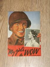 MY GIRLS A WOW  POSTCARD   WOMAN ORDNANCE WORKER   US WWII POSTER   VGC