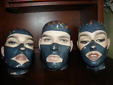3 Vintage Adel Rootstein Mannequin Head Male Femal Man Woman Real Face England