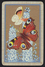1 Single VINTAGE Swap/Playing Card BUTTERFLIES FLOWERS BLUE Tones Gold B/Ground