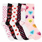 6 Pairs: Ladies Heart Patterned Socks Size 9-11