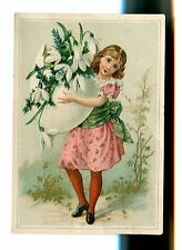 Victorian Trade Card JK BROWN'S SHOES Providence RI girl w giant egg
