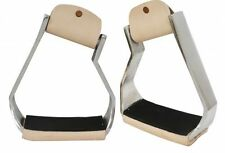 """Showman Angled Polished Aluminum Stirrups 5.75"""" Wide Boot Opening with Tread"""