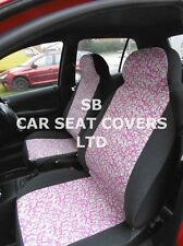 TO FIT A FORD ESCORT CAR, SEAT COVERS, PINK PAISLEY - FULL SET