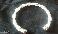 bracelet bangle silver colour metal with open ended twist design new