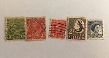 Set of 5 Australia Stamps; Used (See Description for specifics)