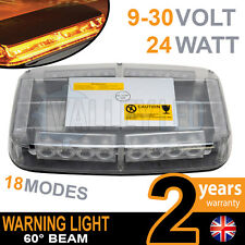 24w Mini LED Warning Light Bar Beacon Amber Recovery Strobe 12v or 24v Magnetic