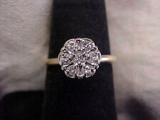 *VINTAGE*.28ctw NATURAL DIAMOND CLUSTER FLORAL ENGAGEMENT RING 14K YELLOW GOLD