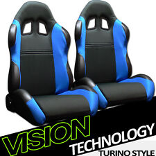 TS Sport Blk/Blue Cloth Fabric Reclinable Racing Bucket Seats w/Sliders Pair V09
