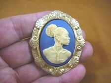 (CA20-28) RARE African American LADY ivory + navy blue CAMEO Pin Pendant JEWELRY
