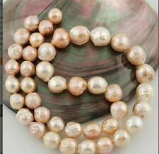 11-10 mm Australian SOUTH SEA gold pink kasumi PEARL NECKLACE 18 inch 14K