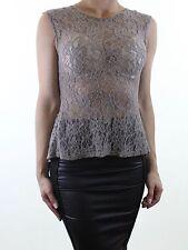 MISS SELFRIDGE mink floral lace fishtail evening blouse top size 8 euro 36