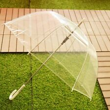 Large Clear Dome See Through Umbrella Handle Transparent Walking Brolly Ladiy