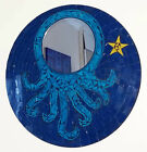Hand made in Bali~Round blue teal yellow octopus mosaic wall mirror-NEW