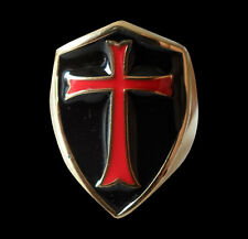 Bronze Crusader Cross Knights Templar Ring w/Red-Black Enamel-Any Size-Inc Ship