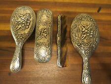 vintage silver vanity brush and comb set